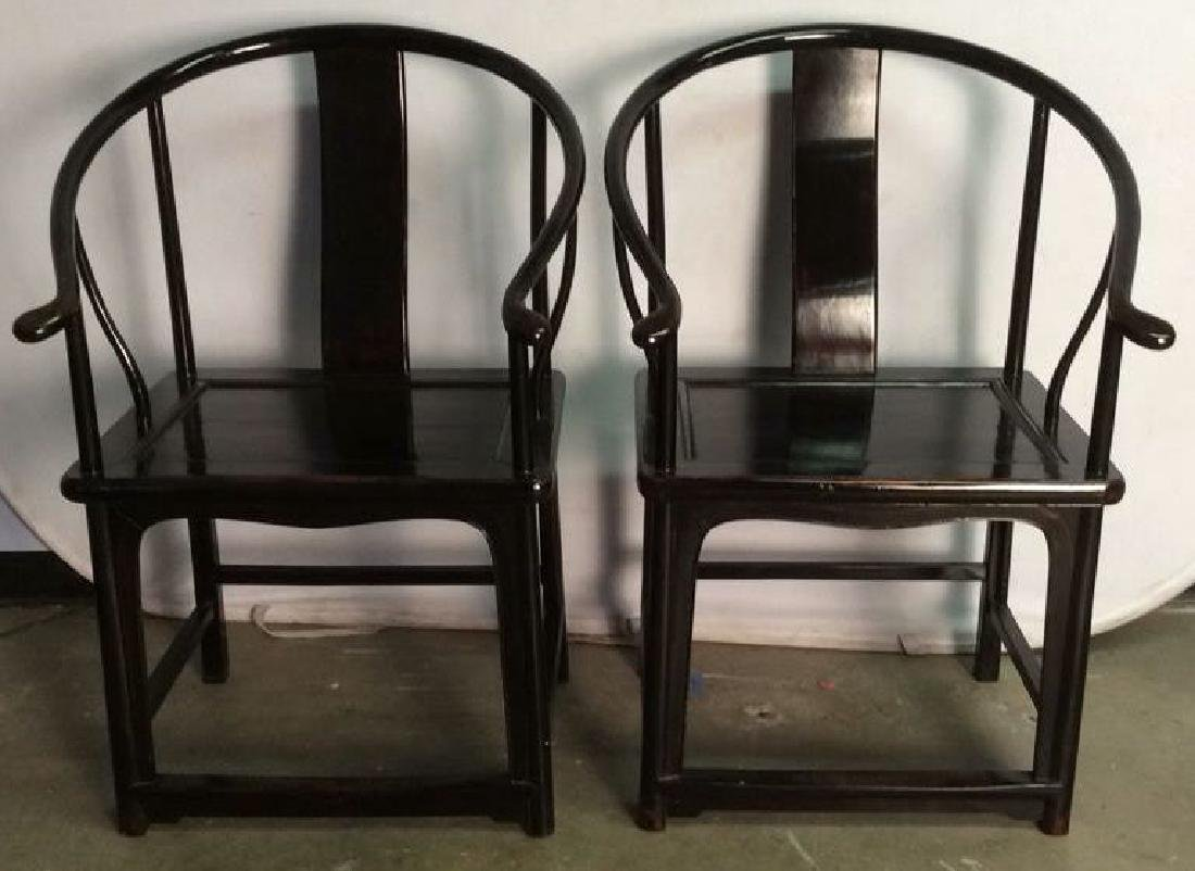 Pair Antique Chinese Lacquered Horseshoe Chairs