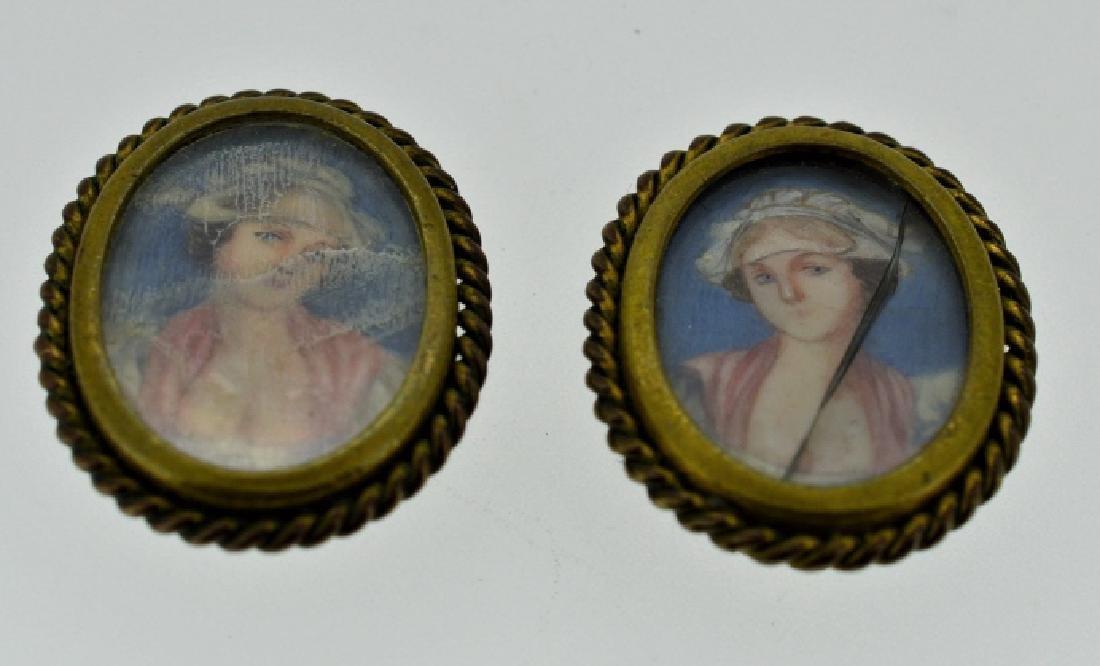 Pre-1900 Ladies Hand Painted Earrings