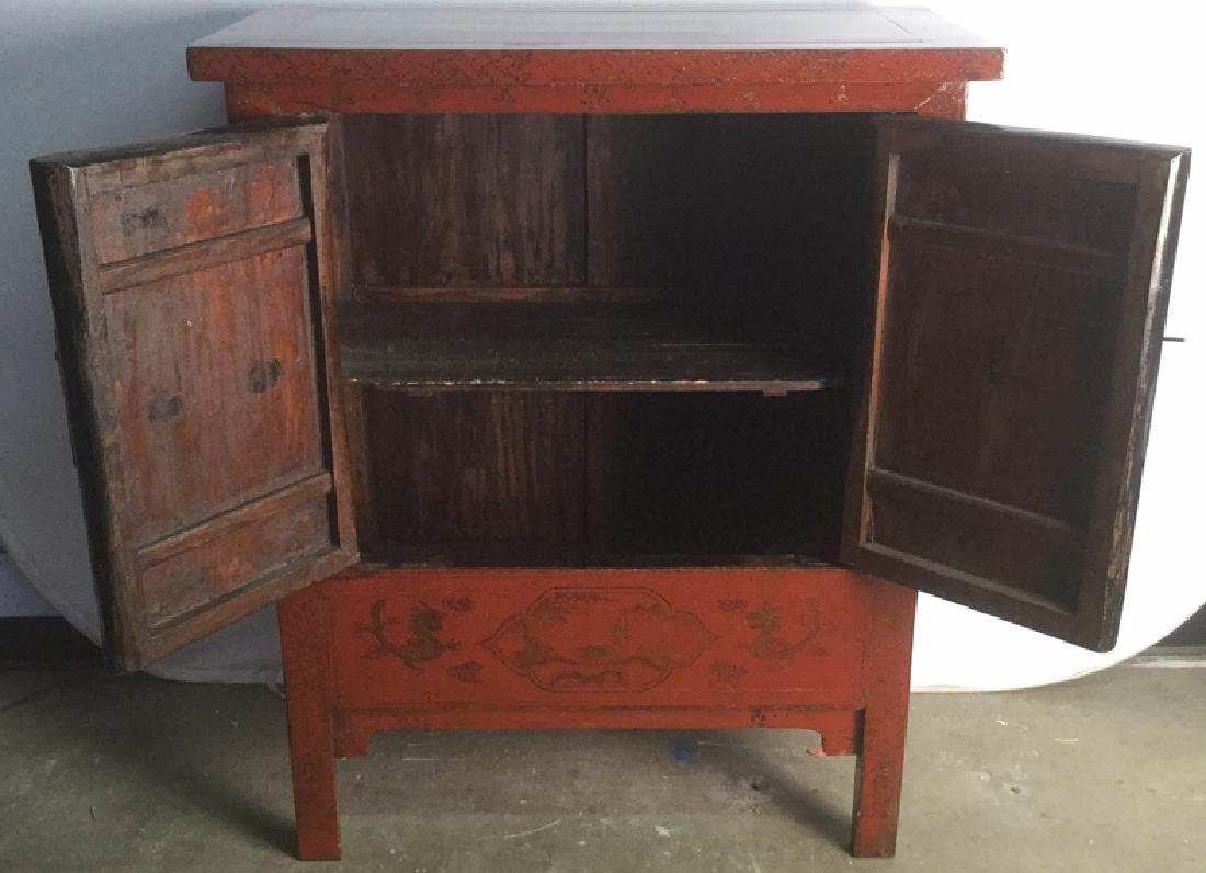 19th Century Antique Chinese Red Lacquer Cabinet - 10