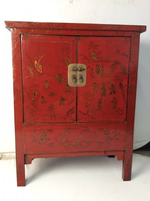 19th Century Antique Chinese Red Lacquer Cabinet