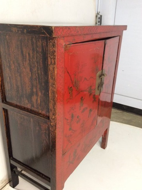 19th Century Antique Chinese Red Lacquer Cabinet - 2
