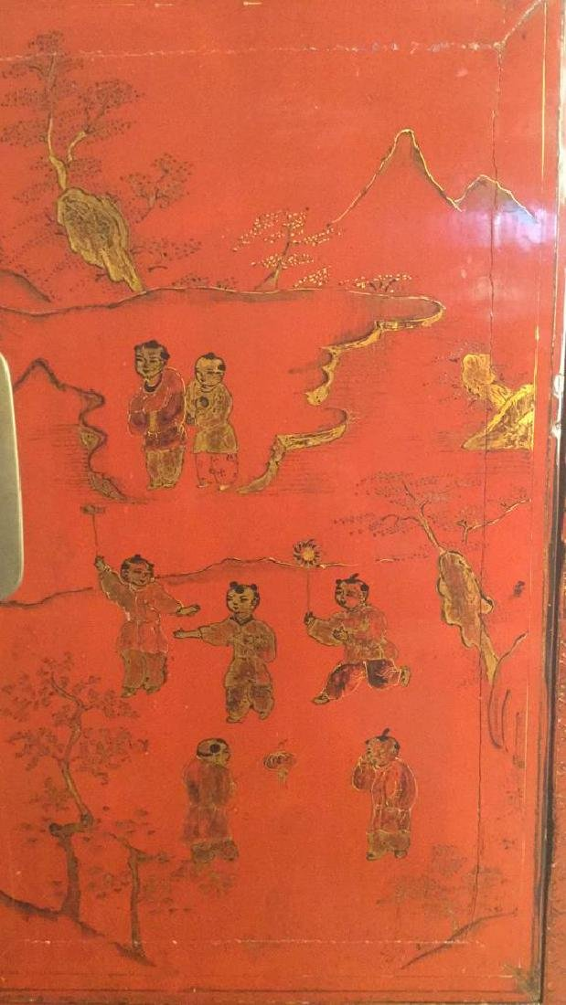 19th Century Antique Chinese Red Lacquer Cabinet - 3