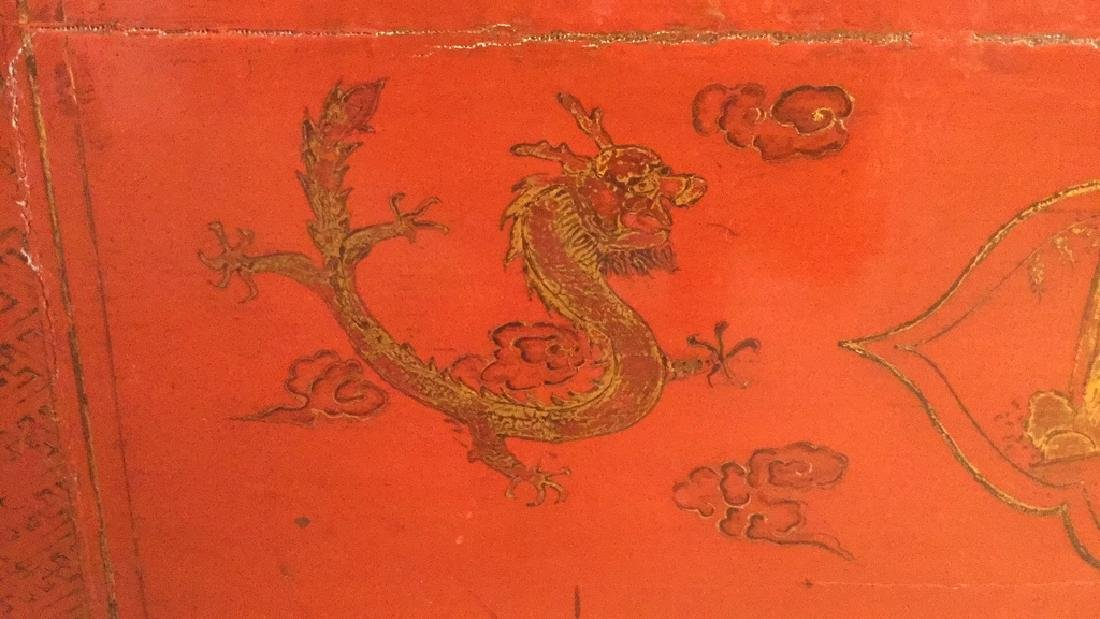 19th Century Antique Chinese Red Lacquer Cabinet - 6