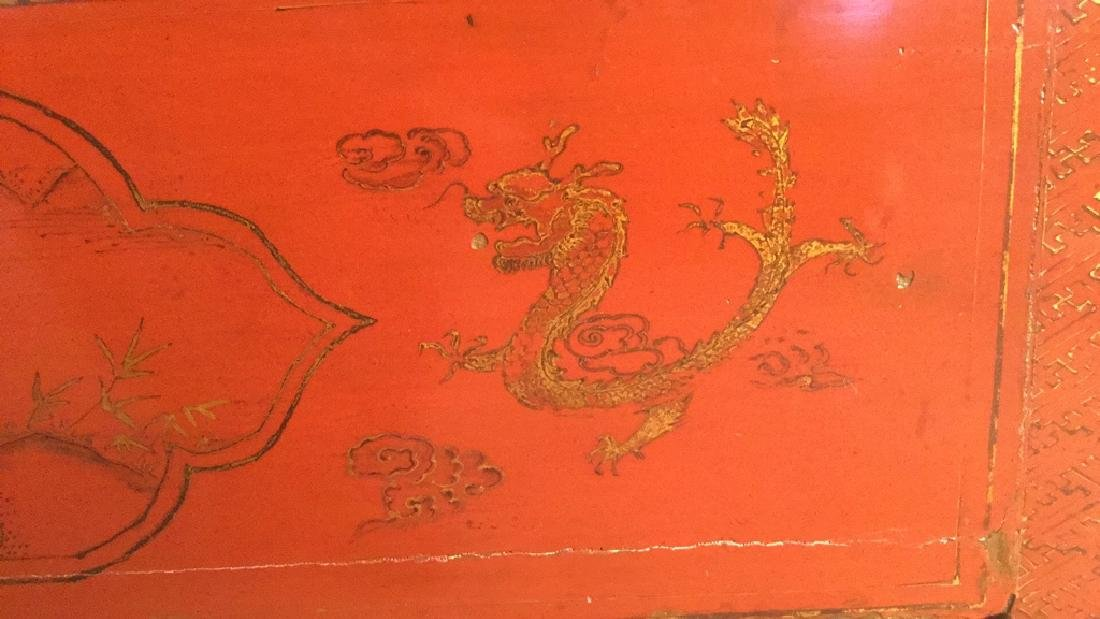19th Century Antique Chinese Red Lacquer Cabinet - 8