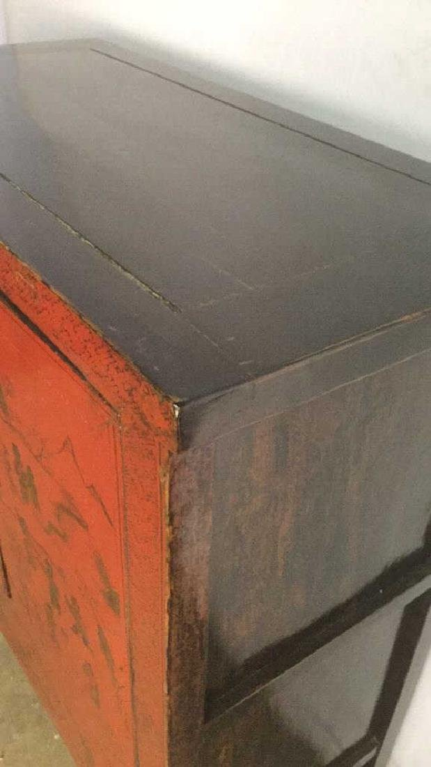 19th Century Antique Chinese Red Lacquer Cabinet - 9