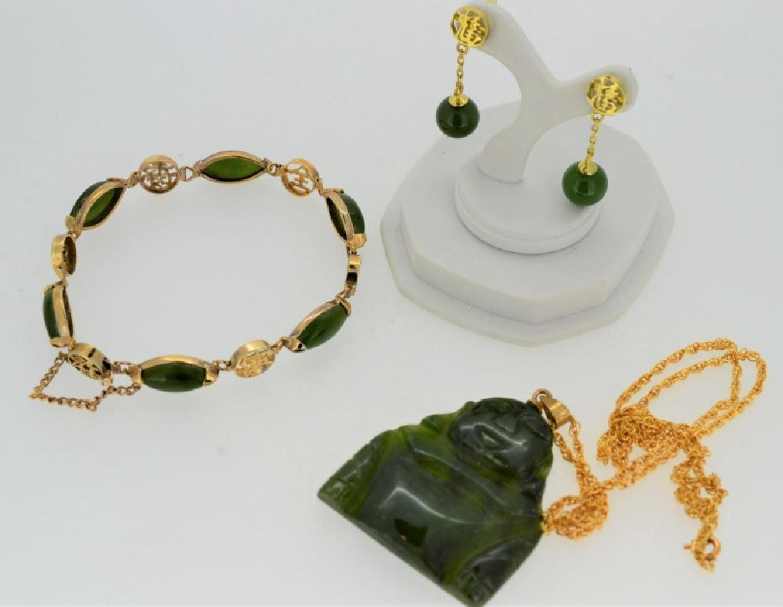 Jade Buddha Pendant Necklace Bracelet &Earrings