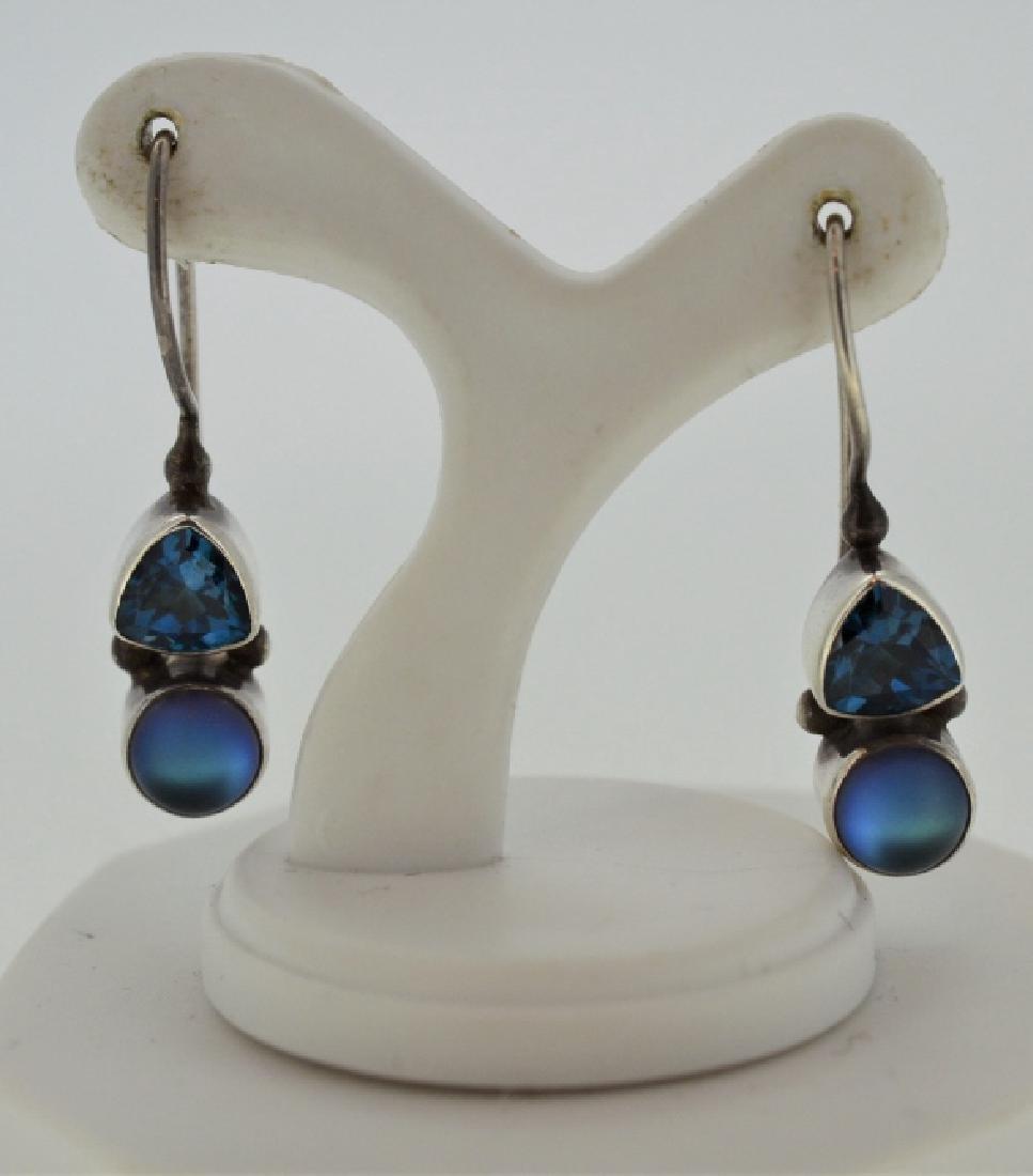 Moonstone & Blue Topaz Drop Earrings