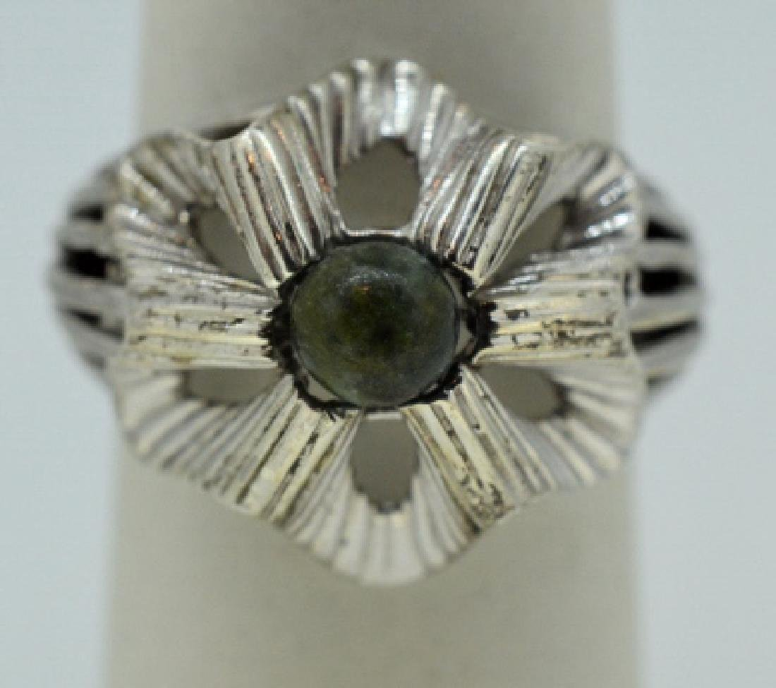 Sterling Silver Fun Flower Ring with Green Stone