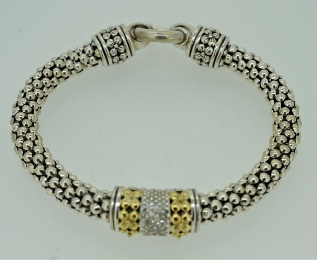 Sterling Silver Rope Bracelet with Clad & Zirconia