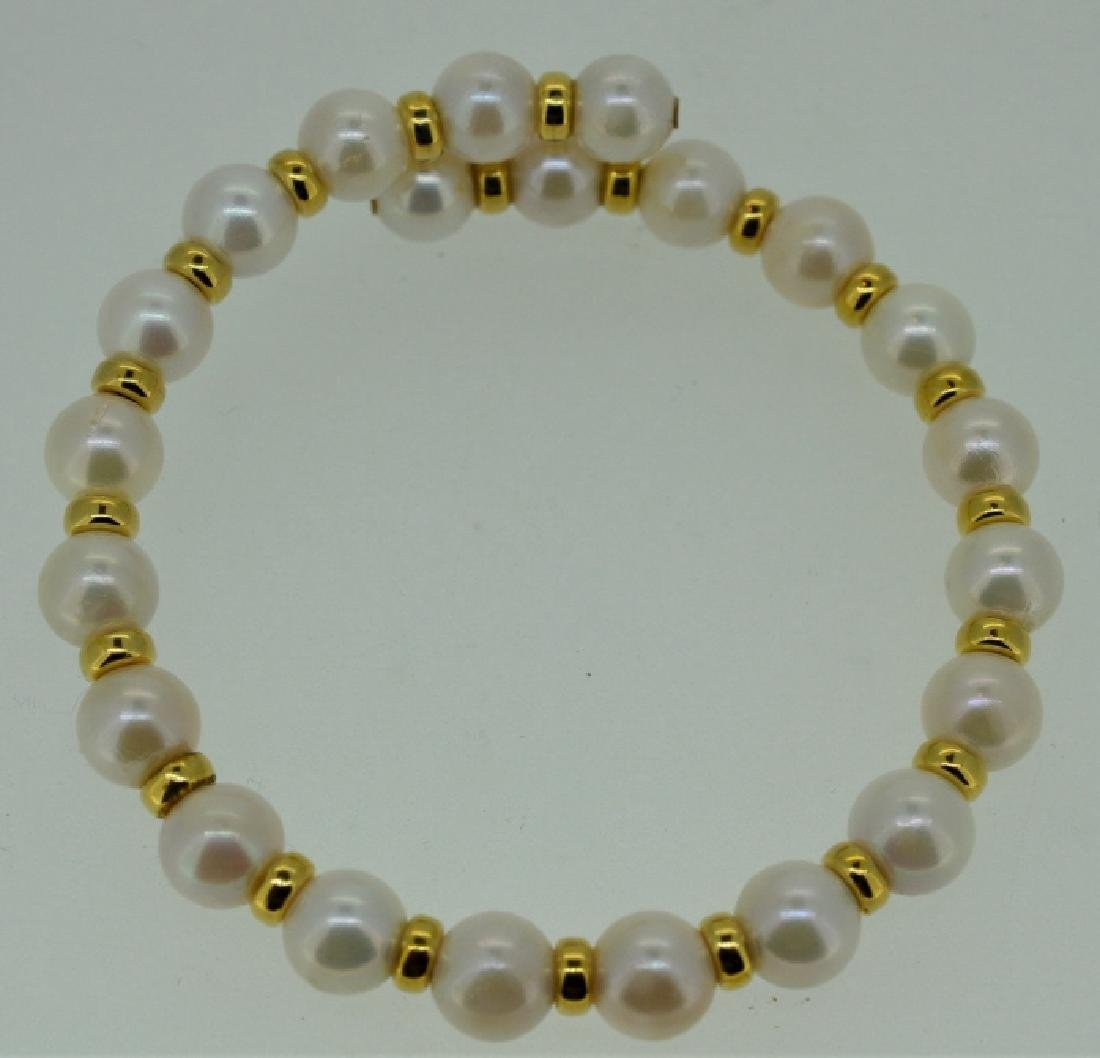 Pearl Cuff Bracelet with Gold Beads
