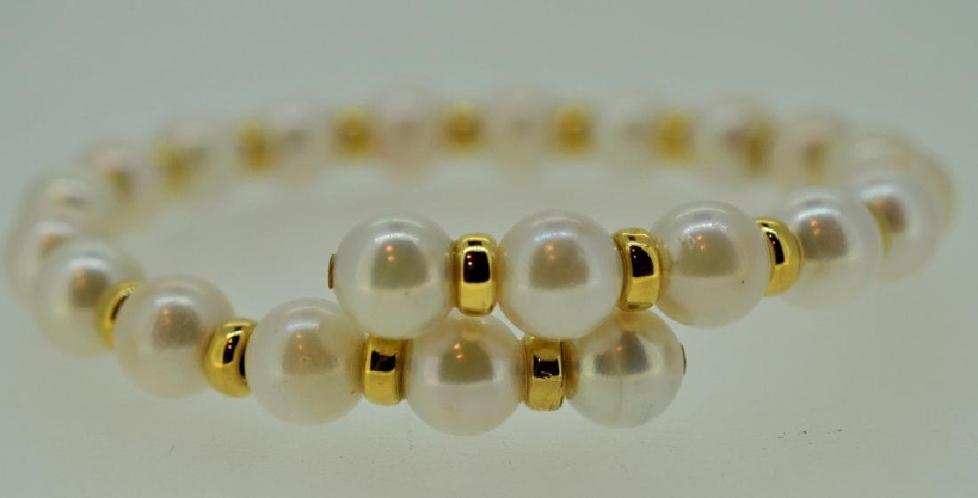 Pearl Cuff Bracelet with Gold Beads - 2