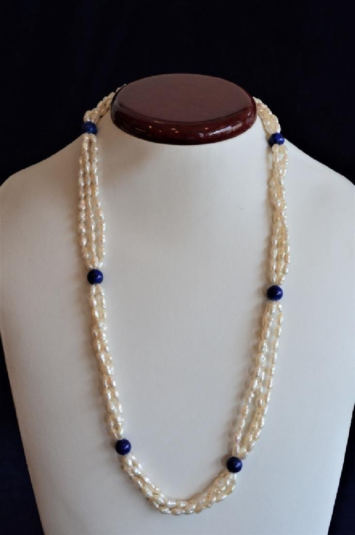Three Strand Freshwater Pearl & Lapis Necklace