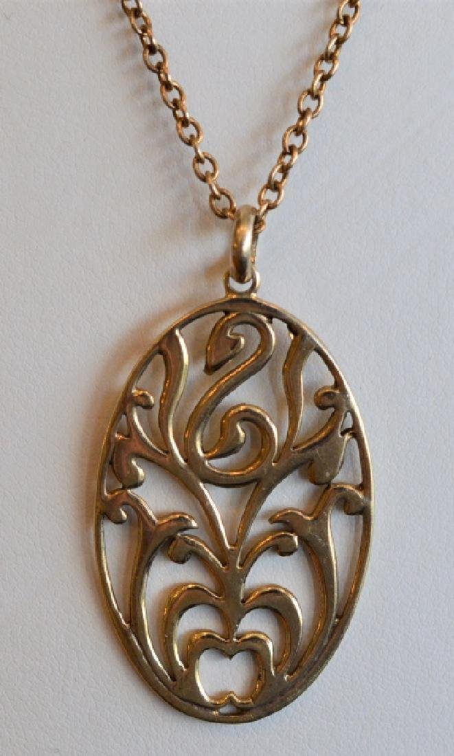 Vermeil 14k over Sterling Swan Medallion Necklace