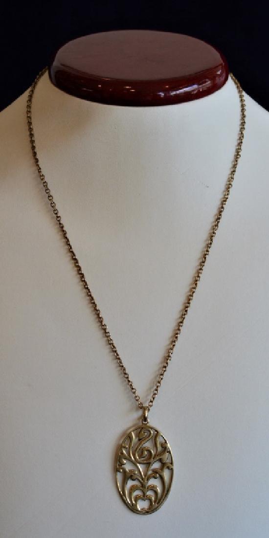 Vermeil 14k over Sterling Swan Medallion Necklace - 2
