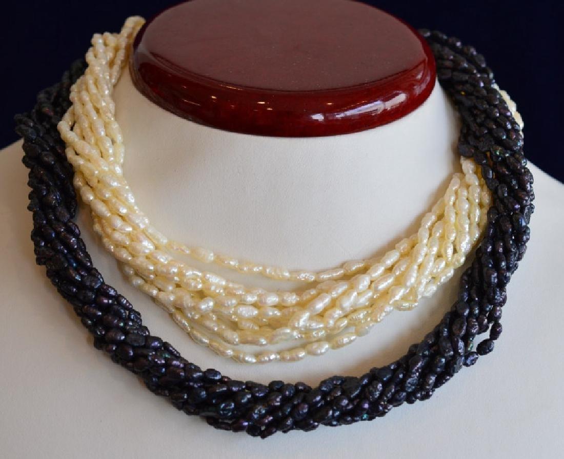 Cream & Iridescent Pearl Necklace w14K Gold&Pearl
