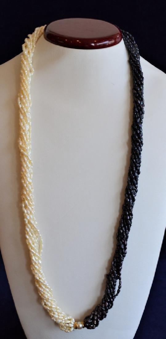 Cream & Iridescent Pearl Necklace w14K Gold&Pearl - 3
