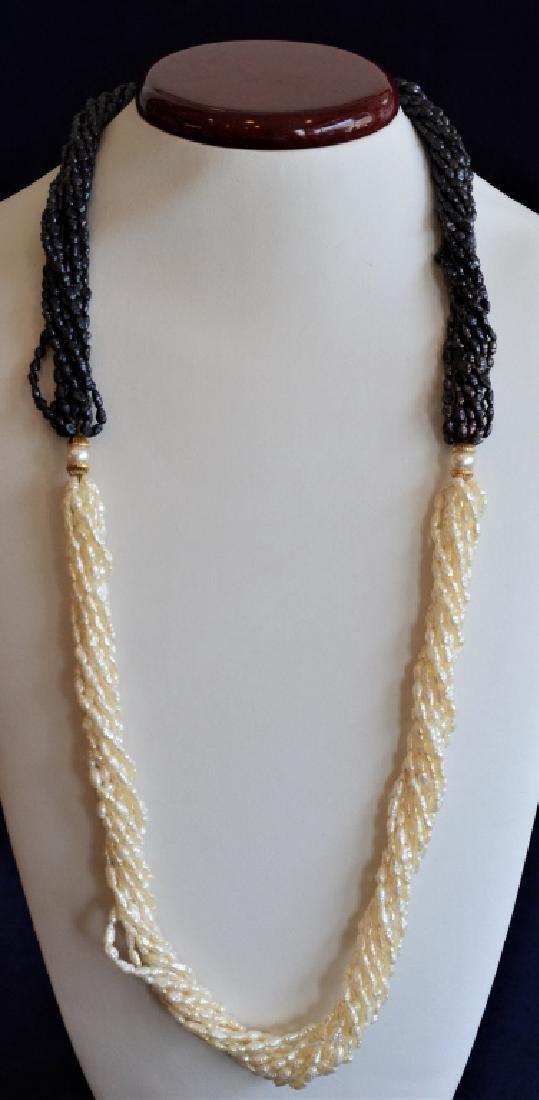 Cream & Iridescent Pearl Necklace w14K Gold&Pearl - 4