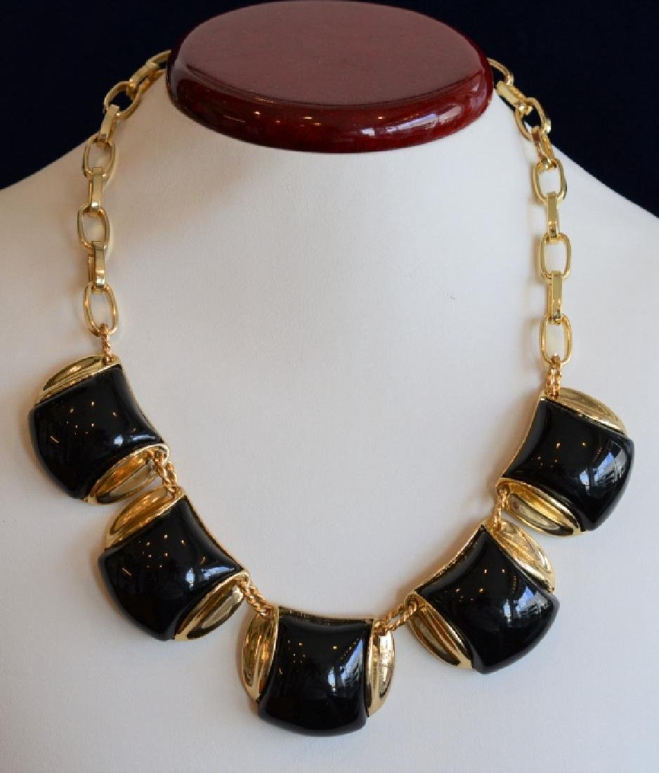 "Monet 18"" Chunky Black & Goldtone Necklace"