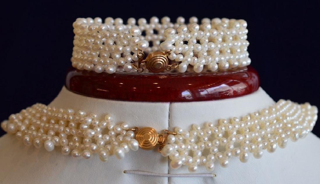 Romantic Pearl Lace Choker Necklace & Bracelet Set - 2