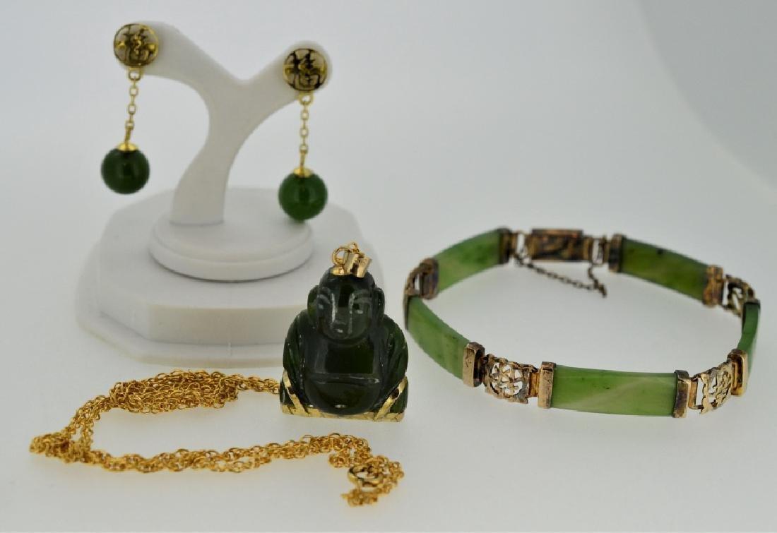 Lucky Jade Buddha Small Pendant Necklace and Jade