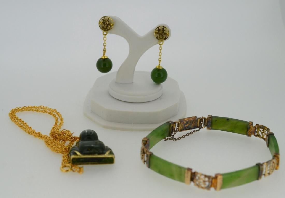 Lucky Jade Buddha Small Pendant Necklace and Jade - 2