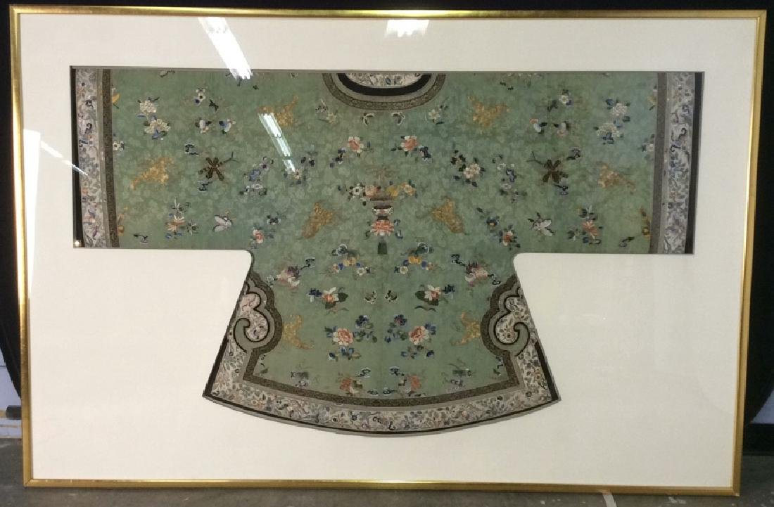 19th C Chinese Green Silk Ladies Jacket Framed