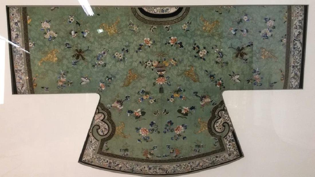 19th C Chinese Green Silk Ladies Jacket Framed - 2