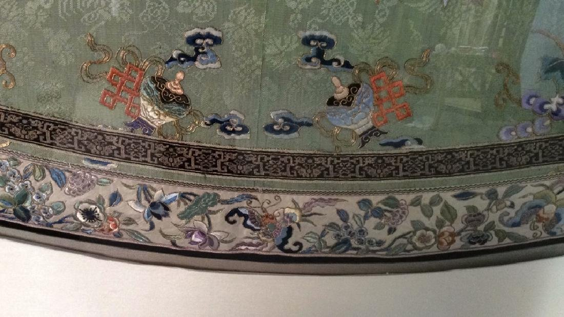 19th C Chinese Green Silk Ladies Jacket Framed - 9