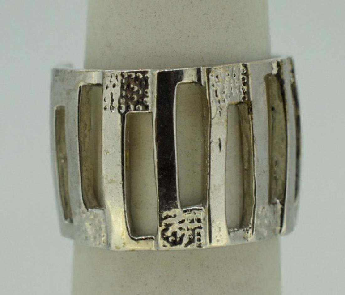 Contemporary Abstract Sterling Silver Ring Band