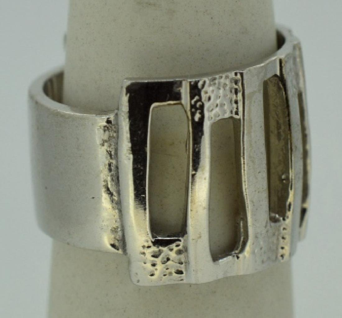 Contemporary Abstract Sterling Silver Ring Band - 2