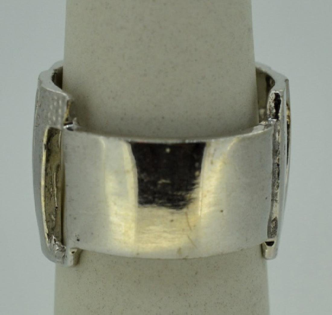 Contemporary Abstract Sterling Silver Ring Band - 3