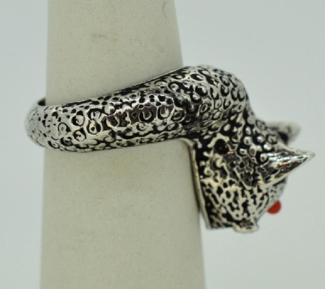 Delightful Sterling Silver Pussycat Ring- size 6 - 2