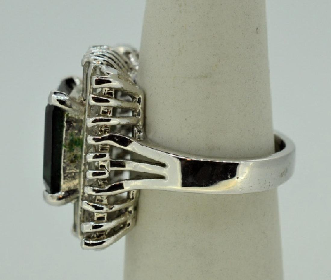 Sterling Silver Costume Ring w Synthetic Stone - 3