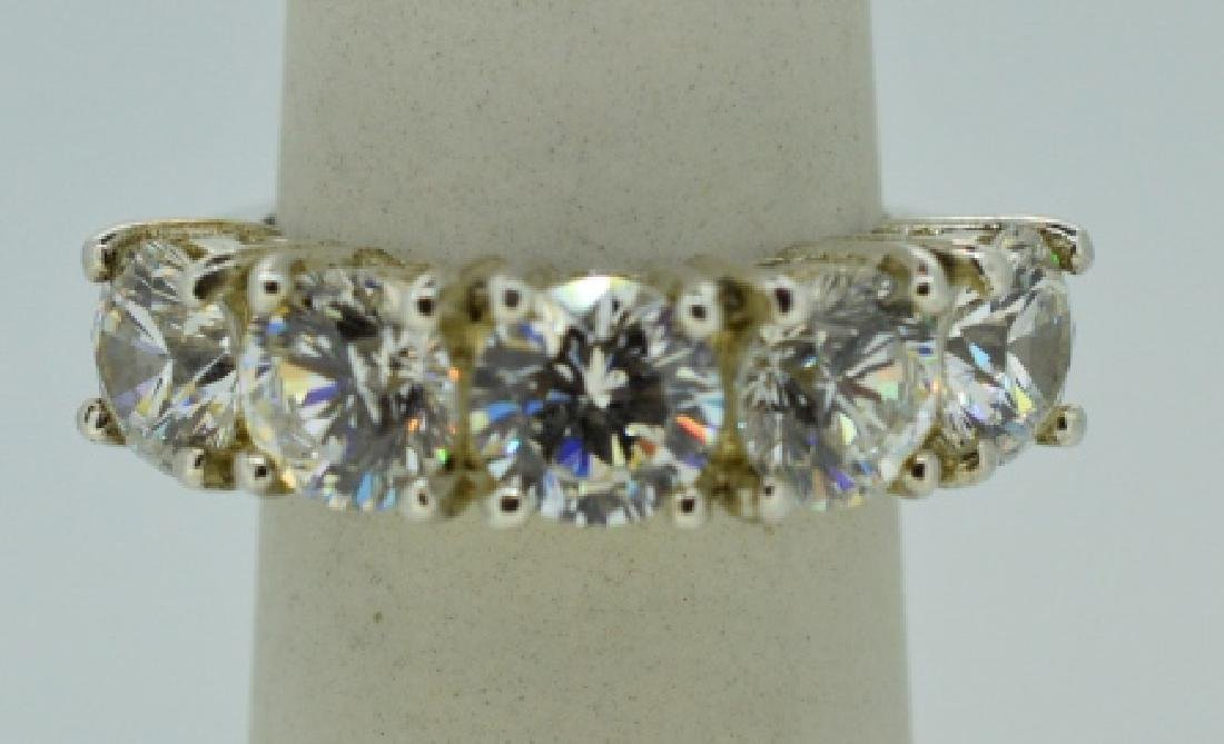 Flashy Five Stone Zirconia & Sterling Silver Ring