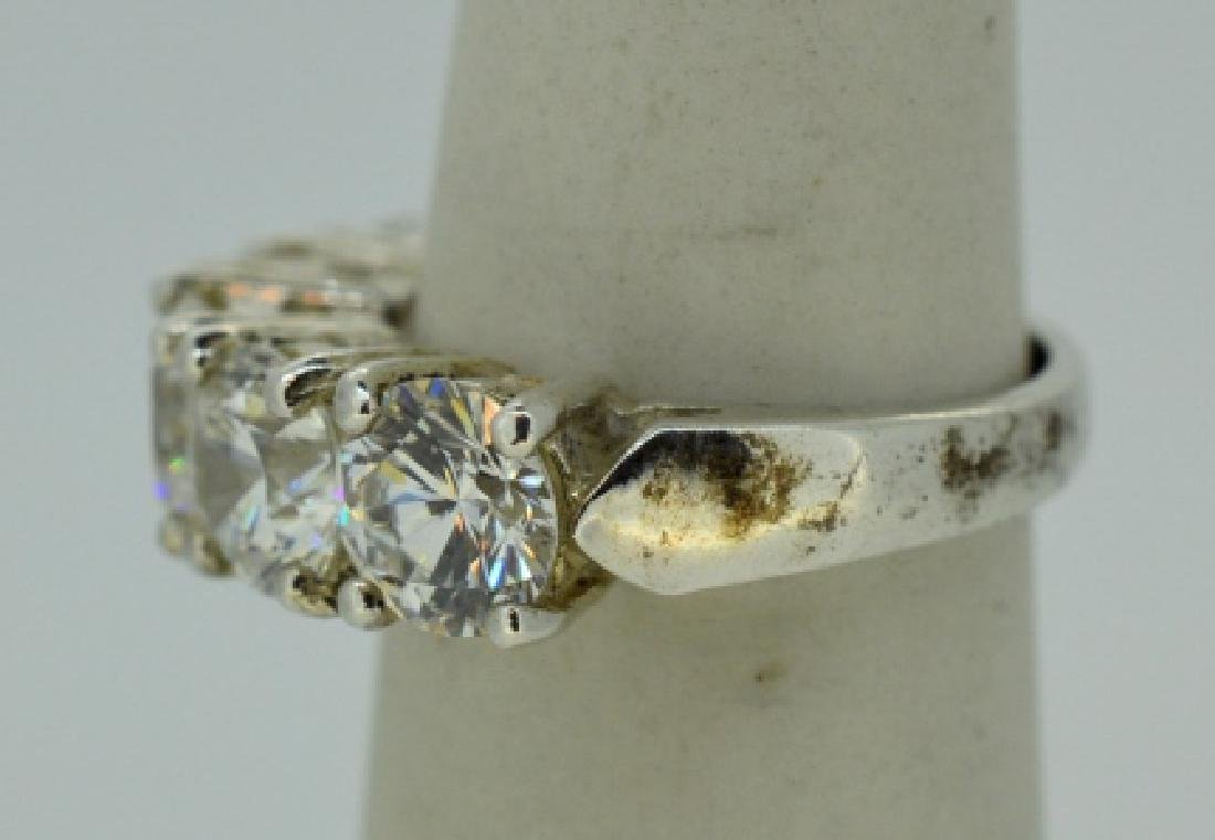 Flashy Five Stone Zirconia & Sterling Silver Ring - 3
