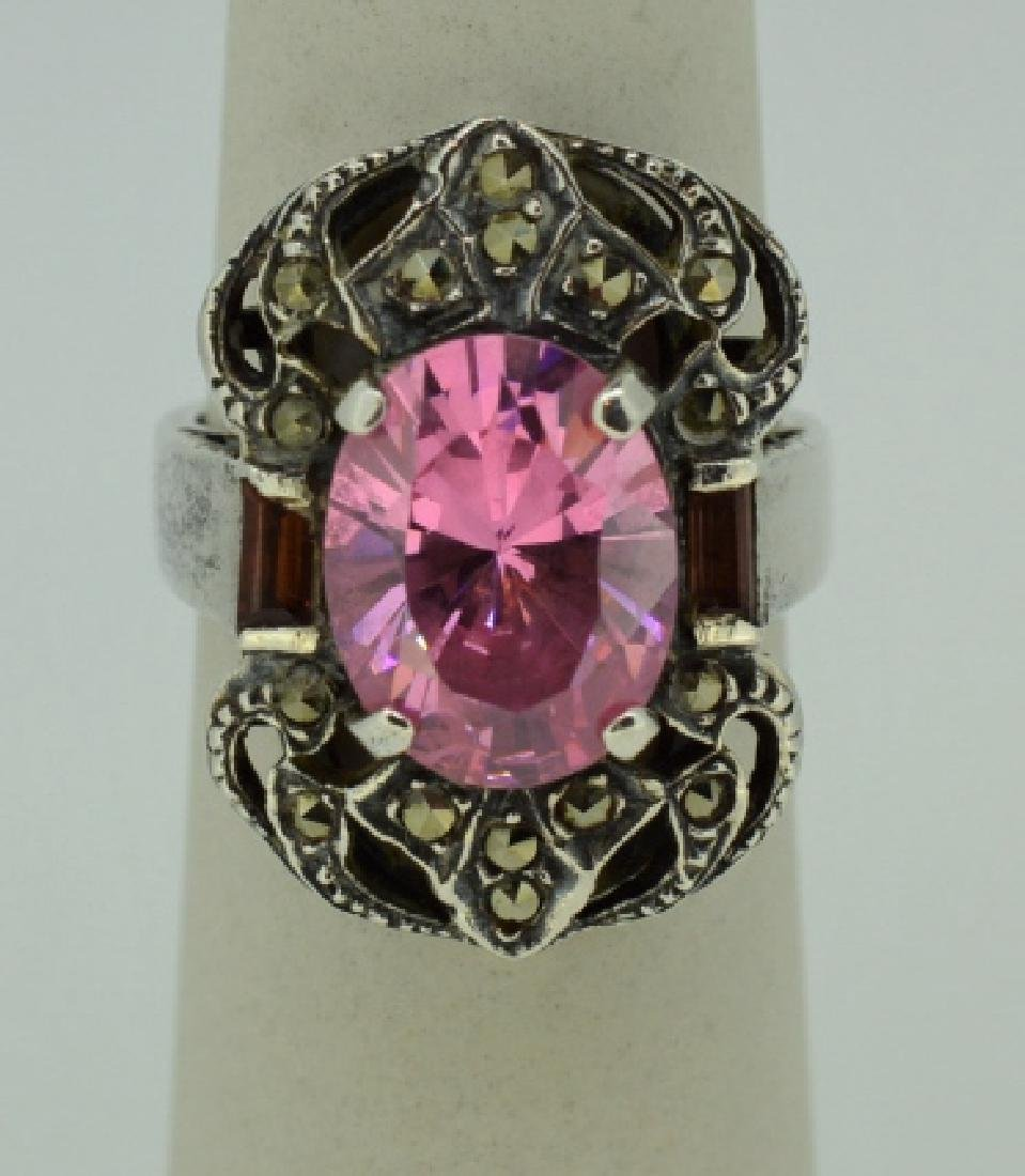Sterling Silvr Marcasite&Pink Synthetic Topaz Ring