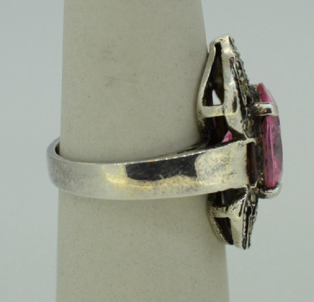 Sterling Silvr Marcasite&Pink Synthetic Topaz Ring - 2
