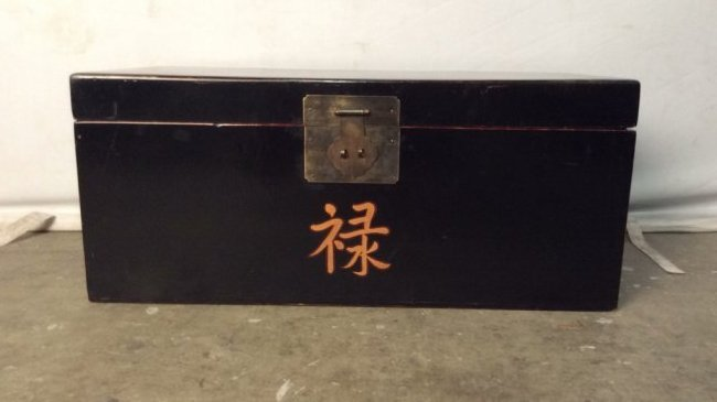 Antique Chinese Black Lacquer Trunk C 1900-1930
