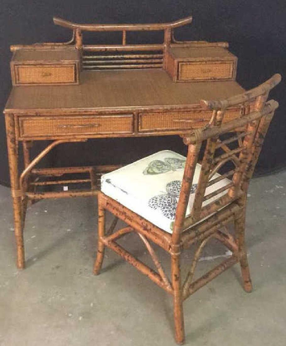 Lot 2 Bamboo Chair And Writing Desk