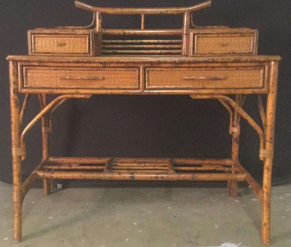 Lot 2 Bamboo Chair And Writing Desk - 3