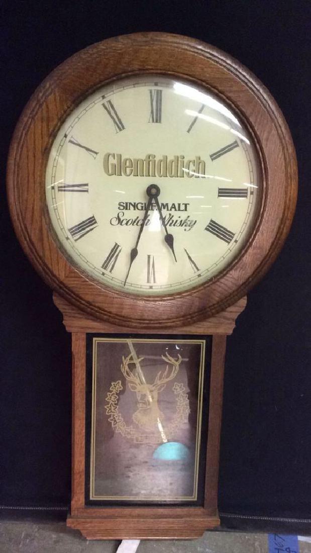 GLENFIDDICH Roman Numeral Wooden Clock