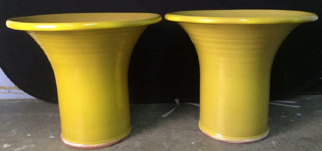 Pair BROOKE Pottery Yellow Toned Planters, England