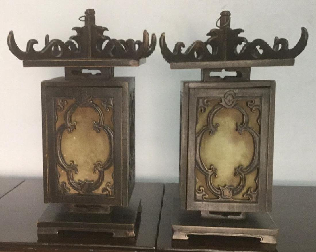 Pair Ornate Carved Chinese Candle Lanterns