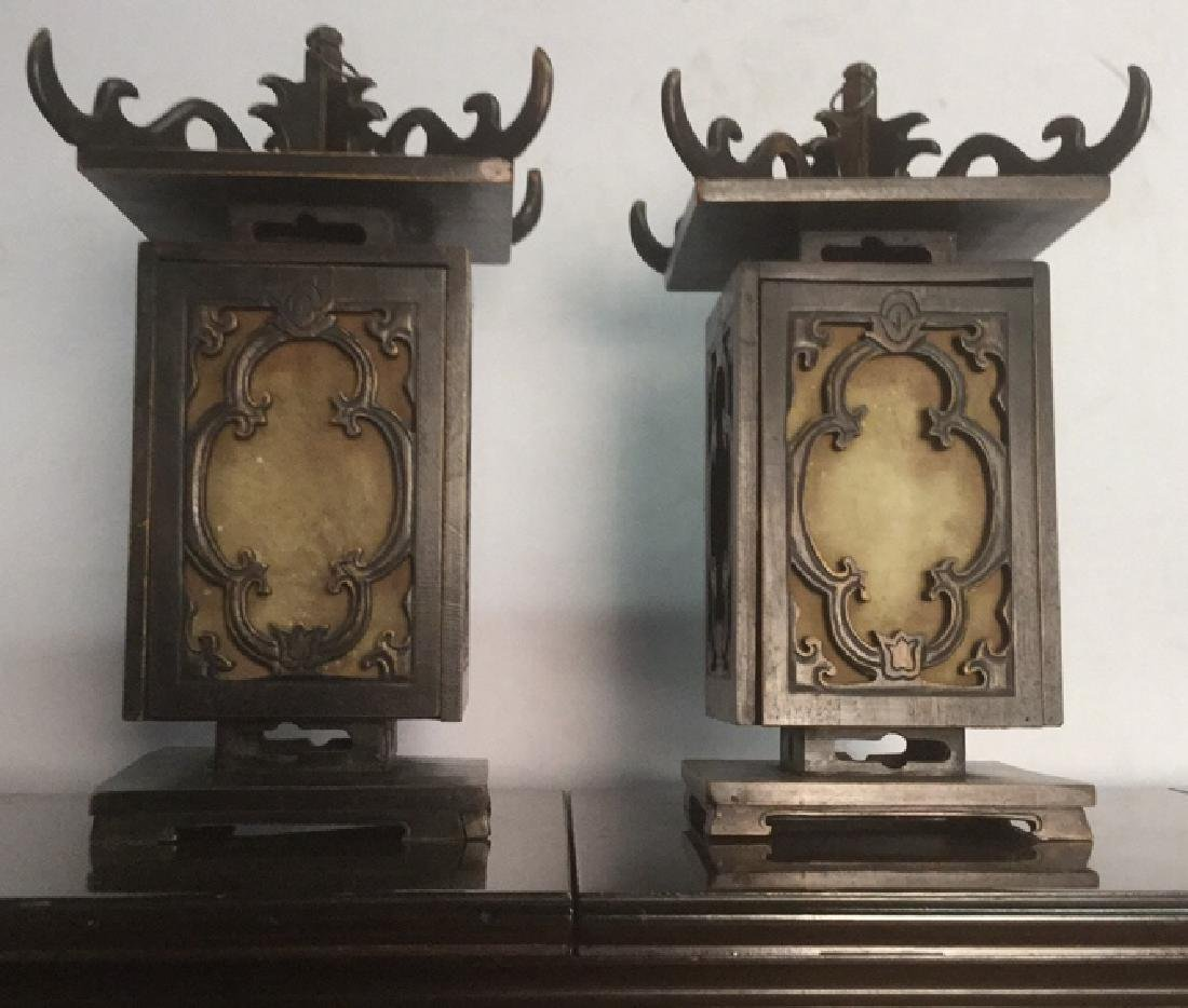 Pair Ornate Carved Chinese Candle Lanterns - 2