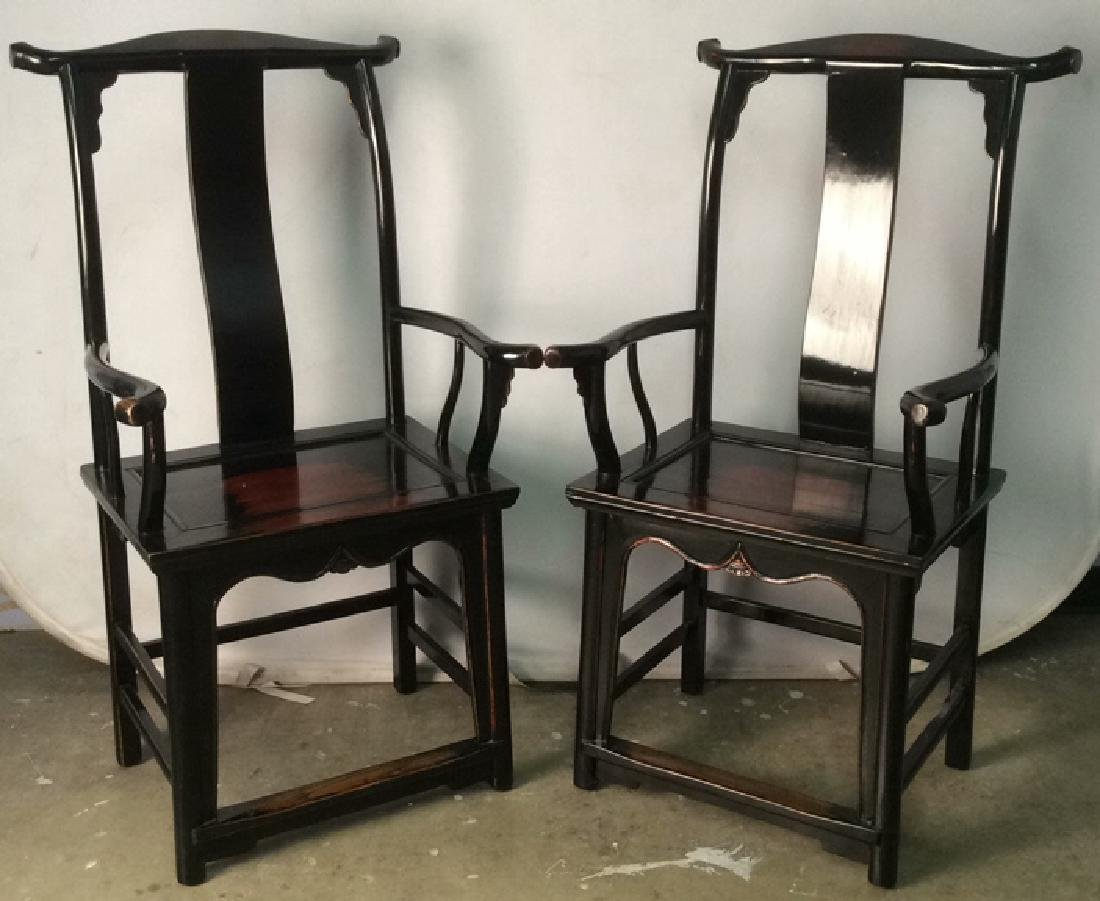 Pair Yoke Back Black Lacquer Scholar Chairs C1890