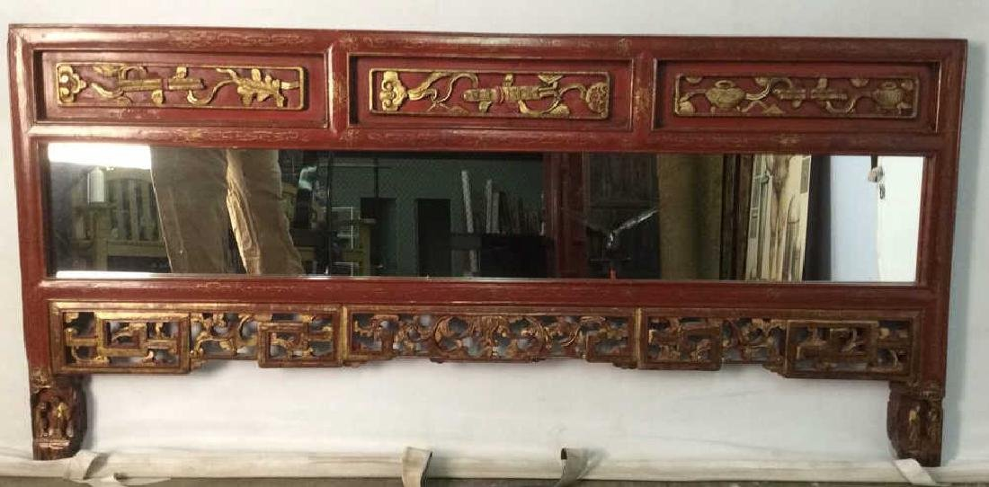 Wooden Red and Gold Chinese Mirror W Carving