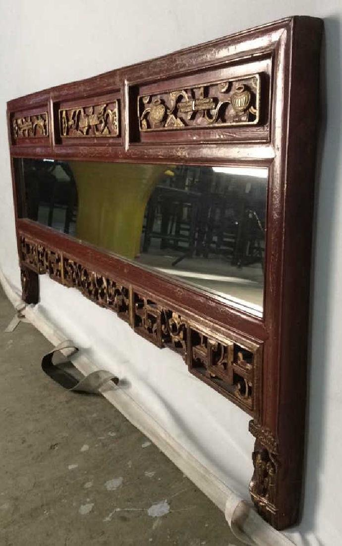 Wooden Red and Gold Chinese Mirror W Carving - 6
