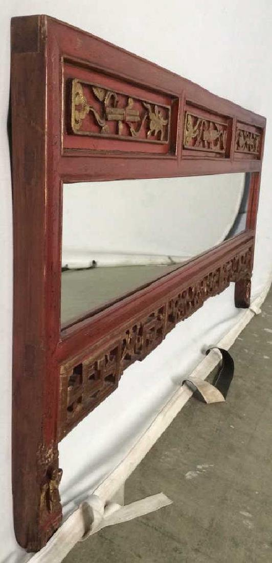 Wooden Red and Gold Chinese Mirror W Carving - 7