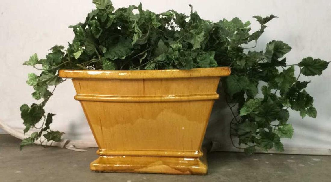 Yellow Gold Toned Pottery Planter