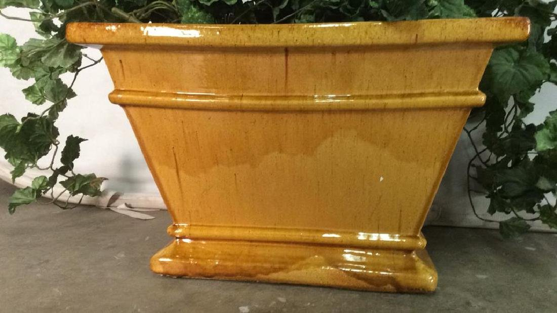 Yellow Gold Toned Pottery Planter - 2